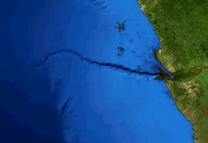 Submarine canyon - The Congo Canyon off southwestern Africa, about 300 km visible in this view
