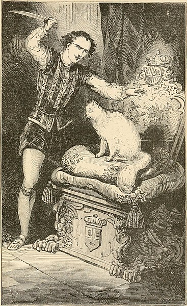 Illustration of The White Cat - a French fairy tale.