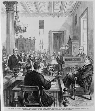 Cornelius Vanderbilt - Physician Jared Linsly testifying as to the mental and physical condition of Cornelius Vanderbilt during court proceedings surrounding the challenge to his will. From an 1877 illustration in Harper's Weekly.