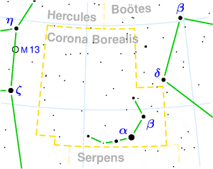 Beta Coronae Borealis - Image: Corona borealis constellation map