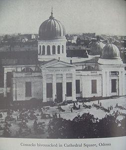 Cossacks bivouacked in Cathedral Square Odessa Potemkin Mutiny.jpg