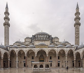 Süleymaniye Mosque - North facade with the forecourt and the central fountain