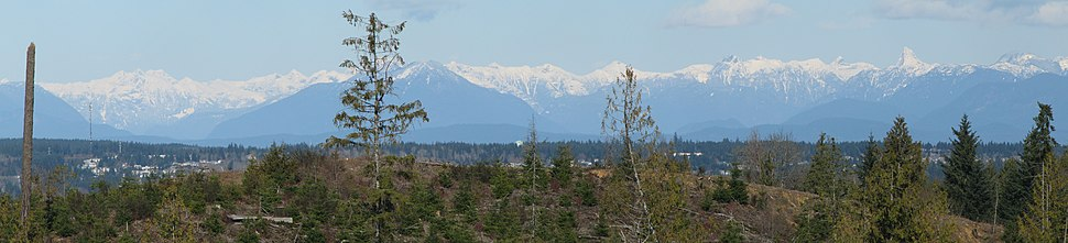 View of mainland British Columbia coastal mountains from Courtenay on Vancouver Island