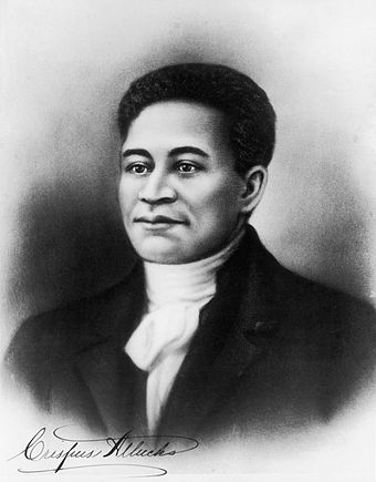 "Crispus Attucks, the first ""martyr"" of the American Revolution. He was of Native American and African-American descent. Crispus Attucks.jpg"