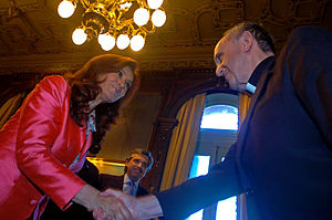 Church–state relations in Argentina - President Cristina Kirchner receives Cardinal Jorge Bergoglio, now Pope Francis, at the Casa Rosada.