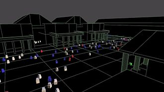 Crowd simulation - A crowd simulation of Covent Garden square, London, showing a crowd of pedestrian agents reacting to a street performer