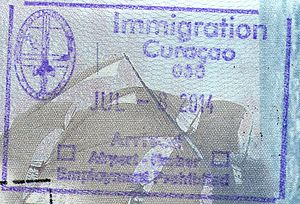 Visa policy of the Kingdom of the Netherlands in the Caribbean - Curaçao entry stamp