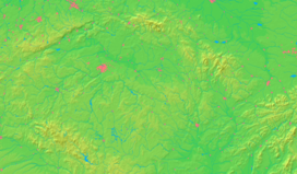 Location of the České Středohoří in brown in the Czech Republic