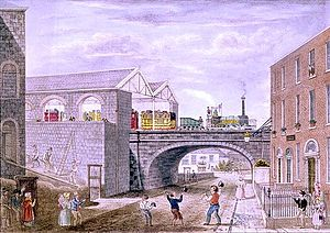 Dublin Pearse railway station - The first train, view from Cumberland Street, 1834