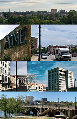 "Worsham Street Overlook, Main & Ridge St. Intersection, Masonic Building (River City Towers), Martin Luther King Jr. Memorial Bridge, Municipal Building from Union Street, Repurposed Dan River Fabrics ""Home"" Sign.(Clockwise from the Top)"