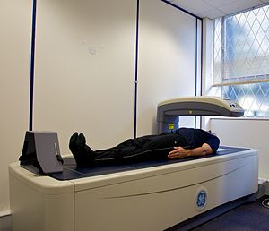 Dual-energy X-ray absorptiometry - Image: DEXA scanner in use ALSPAC