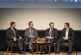 The Looming Tower (miniseries) - (L–R) Mark Updegrove, Lawrence Wright, Michael Stuhlbarg and Ali Soufan participate in a discussion following a screening of The Looming Tower at the LBJ Presidential Library.