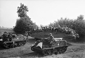 DUKW and Universal Carriers of 5th Duke of Cornwall's Light Infantry, 43rd Division, Holland, 18 September 1944. BU934.jpg