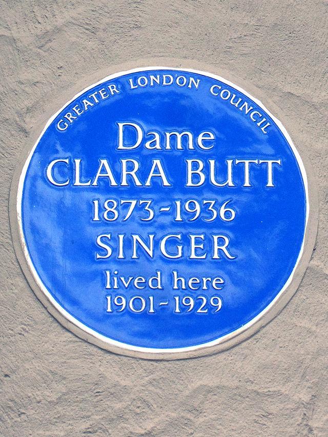 Clara Butt blue plaque - Dame Clara Butt 1873-1936 singer lived here 1901-1929