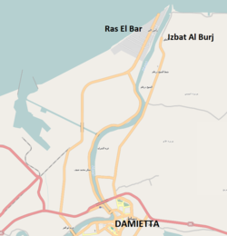 Map showing Izbat al-Burj in relation to the city of Damietta