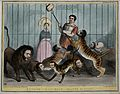 Daniel O'Connell about to feed a loaf of bread to a cage ful Wellcome V0050259.jpg