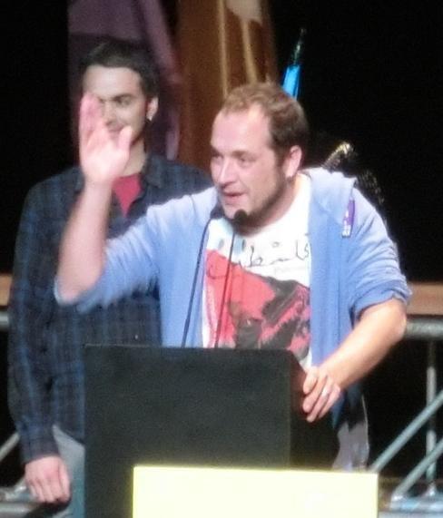 David Fernàndez a l'acte central de la CUP al Barcelona Teatre Musical