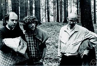 Eugene Trubowitz - Eugene Trubowitz (center) in Oberwolfach 1984, with Corrado de Concini and Francesco Calogero