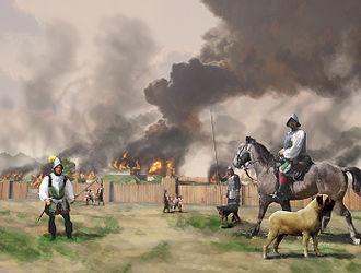 Muscogee - Hernando de Soto and his men burn Mabila, after a surprise attack by Chief Tuskaloosa and his people; 1540, painting by Herb Roe, 2008.