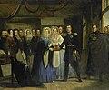 De prinses van Oranje ontvangt Alexander II, grootvorst en troonopvolger van Rusland, in het Czaar Peterhuisje te Zaandam, 17 april 1839 Rijksmuseum SK-C-203.jpeg