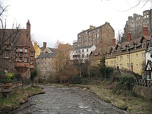 Dean Village - The Water of Leith flowing through Dean Village