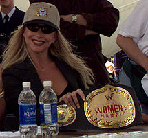 Debra in 1999 with the WWF Women's Championship belt.