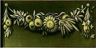 Decoratiestuk met guirlande van bloemen en vruchten
