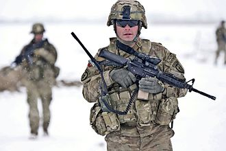 War in Afghanistan order of battle, 2012 - An ISAF soldier from the U.S. 25th Infantry Division patrolling the Paktya Province in January 2012.