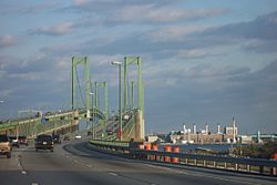 Delaware Memorial Bridge, approaching northbound from the Delaware side, October 2005.
