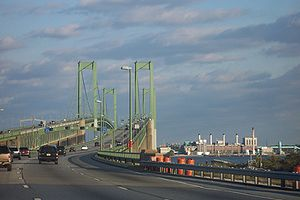 Carneys Point Township, New Jersey - Delaware Memorial Bridge, approaching northbound from the Delaware side, October 2005.