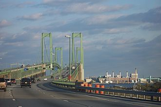 Delaware Memorial Bridge - Delaware Memorial Bridge, approaching eastbound from the Delaware side, 2005.