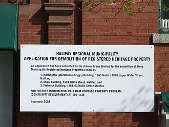 RBC Waterside Centre - Armour Group's demolition notice for three of the heritage buildings.