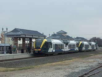 Dallas Area Rapid Transit - A-train diesel multiple unit coaches at Downtown Denton.