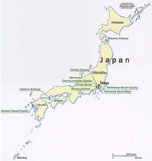 Longevity in Okinawa - Okinawa is seen on the bottom left-hand side of the map of Japan.