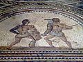 Detail of Gladiator mosaic, a Secutor (left) fighting a Retiarus (right), Römerhalle, Bad Kreuznach, Germany (8196089463).jpg