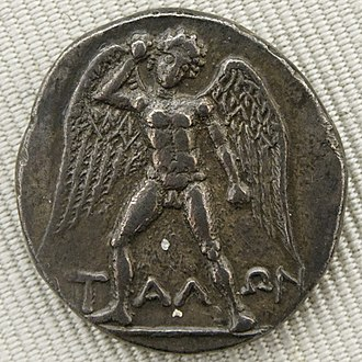 Talos - Winged 'ΤΑΛΩΝ' armed with a stone. Silver didrachma from Phaistos, Crete (ca. 300/280-270 BCE), obverse. (Cabinet des Médailles, Paris)