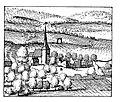 Die Johanniskirche in Gittelde mit der benachbarten Ruine im Stich von Merian 1654.jpg