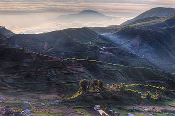 Dieng hills at sunrise (7841063764).jpg