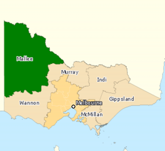 Division of Mallee - Division of Mallee in Victoria, as of the 2016 federal election.