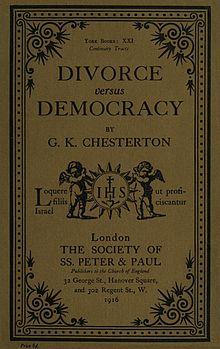 Copertina di Divorce versus democracy (Divorzio contro la democrazia), 1916