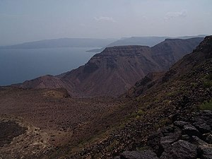 Lake Assal (Djibouti) - Bay of Goudouk, sources of water to the Lake Assal
