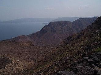 Lake Assal (Djibouti) - Bay of Goudouk, sources of water to the Lake Assal
