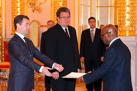 Tanzanian ambassador to Russia, Jaka Mwambi presenting his credentials to the Russian President Dmitry Medvedev Dmitry Medvedev with Jaka Mwambi.jpg