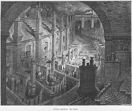 Gustave Dore's 19th-century engraving depicted the dirty, overcrowded slums where the industrial workers of London lived. Dore London.jpg