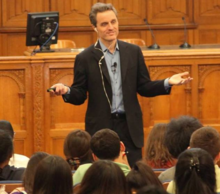 McCullough speaking at Yale during a QuestBridge Leadership Conference for talented low-income high school students