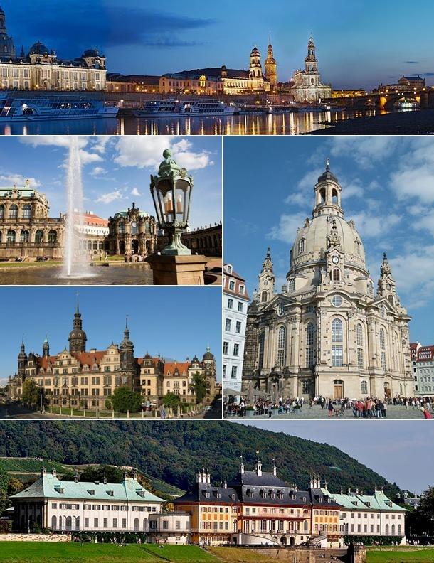 Clockwise: Dresden at night, Dresden Frauenkirche, Schloss Pillnitz, Dresden Castle and Zwinger