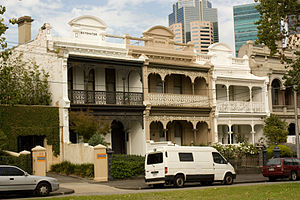 "Terraced houses in Australia - Terraces in Carlton, Victoria featuring the elaborate ornamentation which exemplifies the ""Boom Style"" of the late Victorian era."