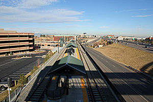 Dry Creek station - A view of the Dry Creek station from the top of the stairs to the adjoining pedestrian bridge. The view is approximately towards the north.