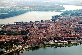 Aerial view of the old town of Mantua