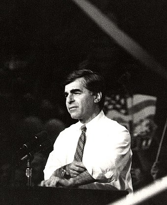 Michael Dukakis at a campaign rally in UCLA's Pauley Pavilion, the night before the US presidential election of 1988 (Mon, 7 Nov 1988). Dukakis1988rally.jpg